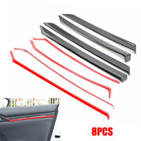 8x Red Carbon Fiber Style Interior Door Trim Decals Cover For Honda Civic 10th