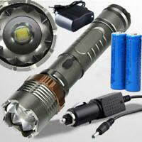 5000Lumen LED Zoom Flashlight Torch Rechargeable + 18650 Battery + Charger