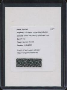 2021 Panini Immaculate SPENCER HOWARD RC Rookie Patch Auto BRAND LOGO 1/1 RB12