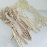 2 Pairs Vintage Stretch Long Ruched Gloves Elbow Ivory & Beige All Size V. Good