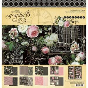 """Graphic 45 'ELEGANCE' 12x12"""" Collection Paper Pack + Stickers Floral #4502195"""