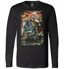 Long Sleeve norse god Odin Fantasy Art Shirt Black