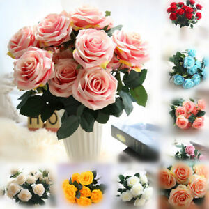 10Heads Rose Artificial Flowers Fake Bouquet Buch Wedding Home Party Decor