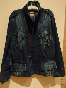 MANS, FIRETRAP  DARK BLUE, ZIP FRONT, DENIM JACKET .SIZE  XXL