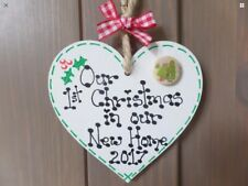 First 1st Christmas In Our New Home Wooden Heart Tree Decoration Gift Plaque