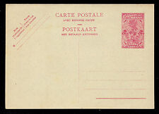 Belgian Congo 2.40 Francs Lilac Postal Card with Attached 2.40 Franc Reply Card