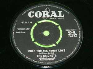 """THE CRICKETS : When you ask about love - Original 1959 UK 7"""" single EX/NM 20D"""