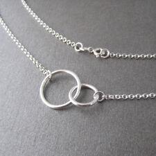 Collier deux cercles entrelacé double anneau toi et moi en argent 925/1000e CO59