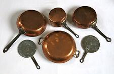 CUIVRE ANCIEN, batterie de cuisine, casserole, poele, sauteuse, LOT de CUIVRES