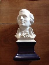 Magnifique Buste Mozart  En Biscuit , Pied En Bleu De Sèvres , Musique Classique