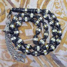 33 genuine black coral prayer beads rosary worry beads mirror and seashell يسر