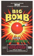 ORIGINAL FIRECRACKER FIREWORK LABEL BIG BOMB BRAND VINTAGE BRICK MACAU 6X10 A1