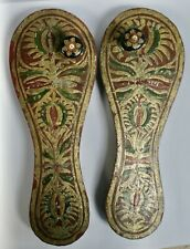 More details for pair of decorative vintage indian hand painted carved wooden paduka shoes