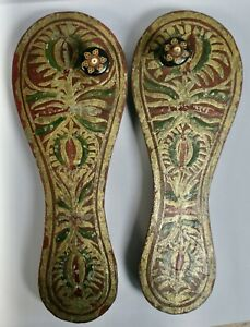 Pair Of Decorative Vintage Indian Hand Painted Carved Wooden Paduka Shoes