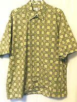 Pierre Cardin Mens XL Hawaiian Shirt 100% Cotton Beige Green Geometric Buttons
