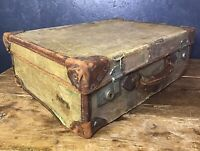 Antique Vintage Canvas And Leather Suitcase