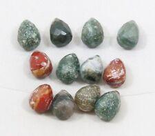 Natural OCEAN JASPER faceted briolette bead / strand 11mm(w) x 16mm(l)- 12 beads