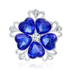 Blue Flower Hearts Crystal And Rhinestone Silver Tone Wedding Brooch Pin