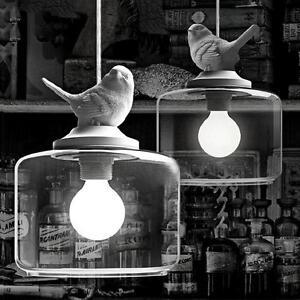 Hot Vintage Classic DIY Big Ceiling Bird Lamp Light Glass Pendant Lighting Home