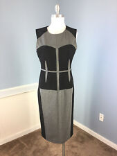 BCBG Maxazria M Charcoal Gray Black Colorblock Sheath dress midi Career Cocktail