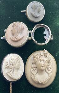 Antique Job Lot Lava Cameo Items For Repair