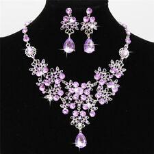 Fashion Rhinestone Necklace Earrings New Set Crystal Women Wedding Jewelry WKUS