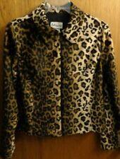 Vtg Palisades Brown Leopard Animal Print Faux Fur Crop Jacket Coat Women S  USA