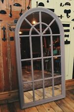 Rustic Large Arched Window Mirror with Reclaimed Wood with a Grey/ Shabby Chic