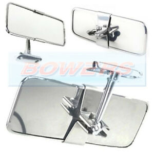 UNIVERSAL STAINLESS STEEL CHROME CLASSIC OR KIT CAR INTERIOR REAR VIEW MIRROR