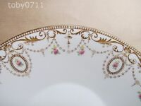SHELLEY LATE FOLEY 8414 CAKE PLATE GOLD SCROLLS, MEDALLIONS, PINK ROSES(Ref2416)