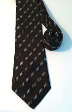 NAUTICA NECK TIE. SOLID BLACK with Gold and Silver Bars / Stripes. 100% SILK