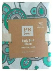 POTTERY BARN Early Bird White Green Taie D'Oreiller Standard Sham NEW Tags
