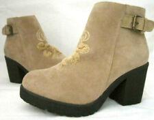MUK LUKS Women's Size 7 Tan Suede Side Zipper Close Boots Rubber Sole 3in Heel