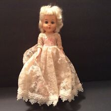 Vintage Hard Plastic Bride Doll Blonde Hair Blue Eyes White and Pink Lace Gown