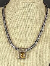 Sara Blaine Fusion Citrine Pendant Necklace Sterling Silver 18k Gold