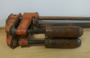 "Vintage Jorgensen #3724 Bar Clamps 24"" Pair Adjustable Wood Handles Lot of 2"