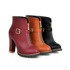 Women Ankle Boots Gothic Buckle Strap Round Toe High Heel Riding Booties Shoes D