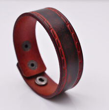 Vintage Embossed Cool Genuine Leather Wrap Bracelet Cuff Wristband Mens Brown