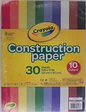 """Crayola Construction Paper 9"""" x 12"""" 10 Colors 30 Sheets/Pack"""