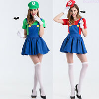 Women Super Mario Luigi Brothers Plumber Fancy Dress Costumes Cosplay Party