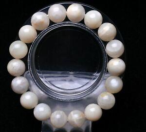 11.5mm Natural Burma Moonstone Round Beads Bracelet AAAA