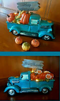 Lighted Pumpkin Autumn Harvest Blue PICKUP TRUCK Give Thanks Happy Thanksgiving