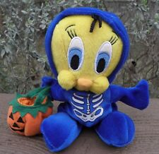 "Halloween Tweety Bird Skeleton 8"" Plush Beanbag Glow in the Dark Looney Tunes"