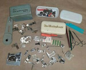 LARGE LOT OF MISC GREIST SINGER WESTINGHOUSE SEWING MACHINE ATTACHMENTS BOBBINS