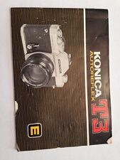 KONICA T3 AUTOREFLEX SLR 35mm FILM CAMERA OWNERS INSTRUCTION MANUAL BOOK Guide