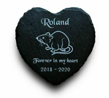 Personalised Engraved Slate Heart Pet Memorial Grave Marker Plaque for a Pet Rat