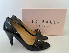 TED BAKER (MARTHA) WOMENS OPEN TOE BLACK PATENT LEATHER SHOES - SIZE UK 8 EU 41