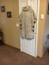 Hand Knit Woman's  Poncho Wood Buttons Aran Flec