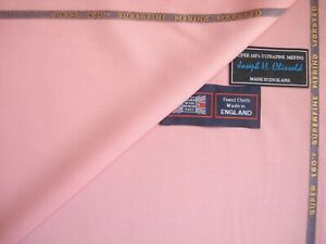 """100% SUPER 160's MERINO WOOL SUITING FABRIC IN """"Lt. Pink"""" By J.H. Clissold =3.4m"""