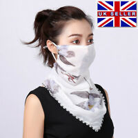LADIES FACE MASK MOUTH COVER CHIFFON SCARF BREATHABLE BANDANA FLORAL WASHABLE UK